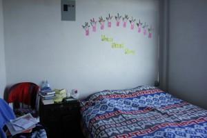 På rom veggen min sto det velkommen når jeg kom.